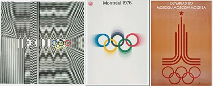 geometric and op art olympics posters, 1968-1980