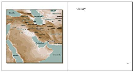 spread from persian ceramics book showing map with colors adjusted in photoshop