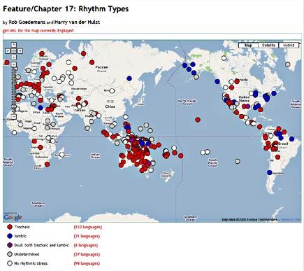 map of language rhythm families