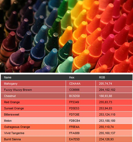 crayola hex values