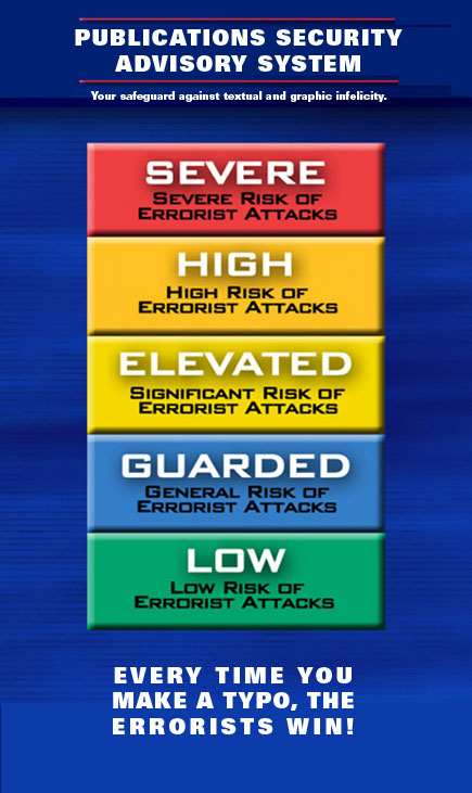 sign showing errorist alert levels