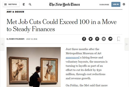 New York Times article on Met layoffs
