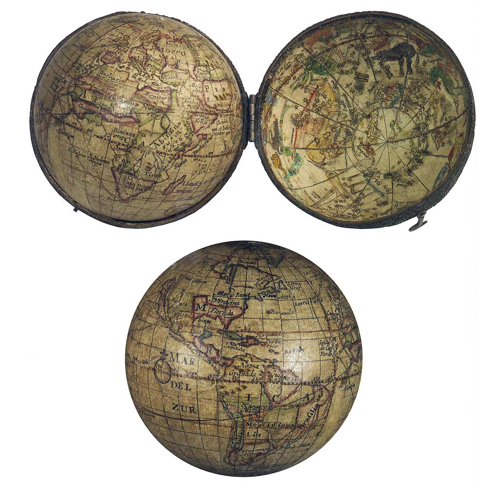 Pocket globe, ca. 1679, by Joseph Moxon (English, 1627–1691). Engraving on copper. British Library, London. Moxon's pocket globes, which he is said to have introduced around 1659, became something of a craze. Priced around 15 shillings, their affordability no doubt contributed to their popularity. This globe would have appealed to seventeenth-century British sensibilities, as it showed the routes of Sir Francis Drake and Thomas Cavendish.