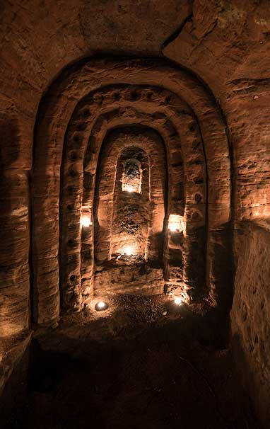 Picture of cave. According to legend, caves in Shopshire, England, were used by members of the Nights Templar.