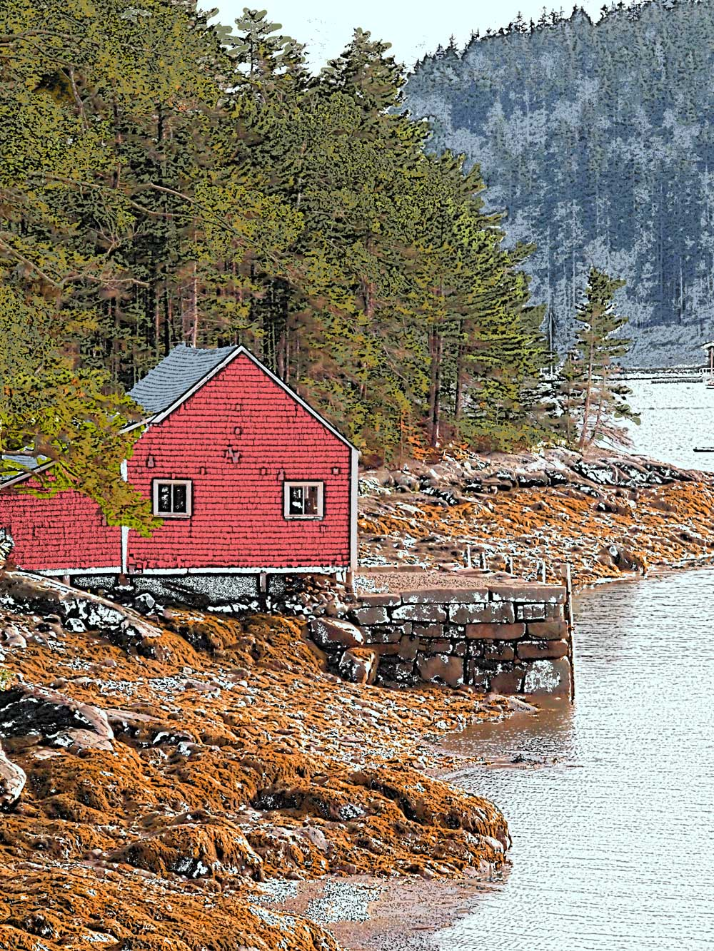 Bucks Harbor, Maine. Artwork from photo.