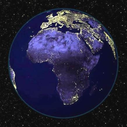 the planet earth at night - africa
