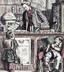 19th century engraving of a book shop