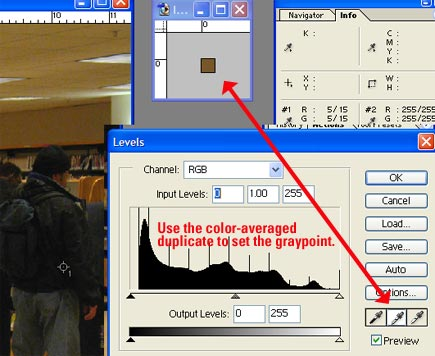using an averaged duplicate image to set the gray point