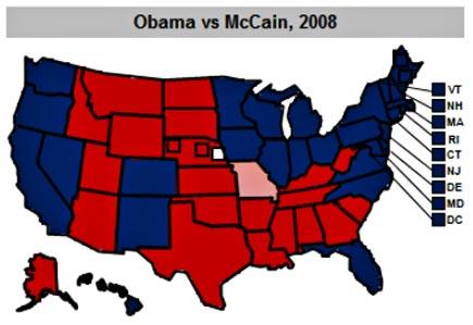 obama-mccain electoral map