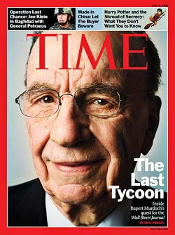 rupert murdoch (news corp.) on the cover of time (time-warner)