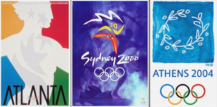 bright, saturated colors in olympics posters, 1996-2004