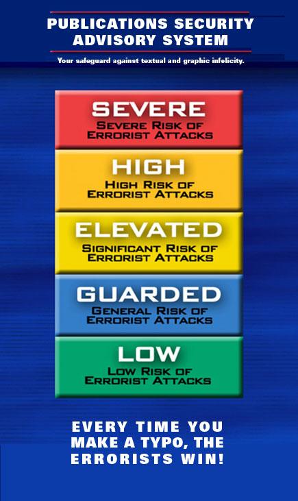 sign showing errorist alert levels
