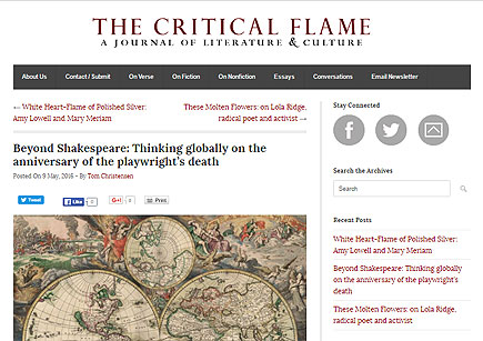 """""""Beyond Shakespeare"""" at <em>The Critical Flame</em>"""