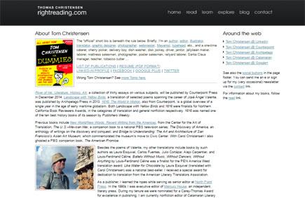 Thomas W. Christensen bio page at rightreading.com
