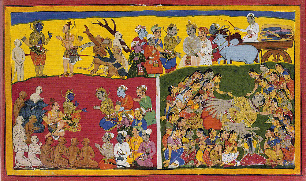 Mourning for the death of Ravana, and preparations for his funeral, from the Mewar Ramayana, 1649–1653, by Sahibdin (Indian, active ca. 1625–1660). Opaque watercolors on paper. The British Library, Add. 15297(1) f.173r.