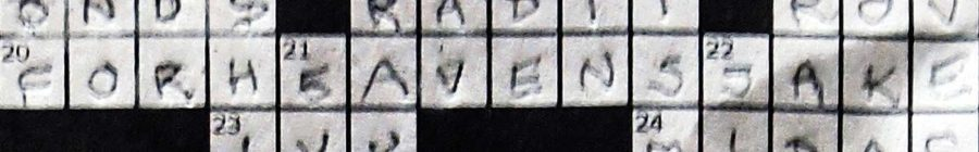 """Crossword puzzle detail with answer """"for heaven's sake."""""""