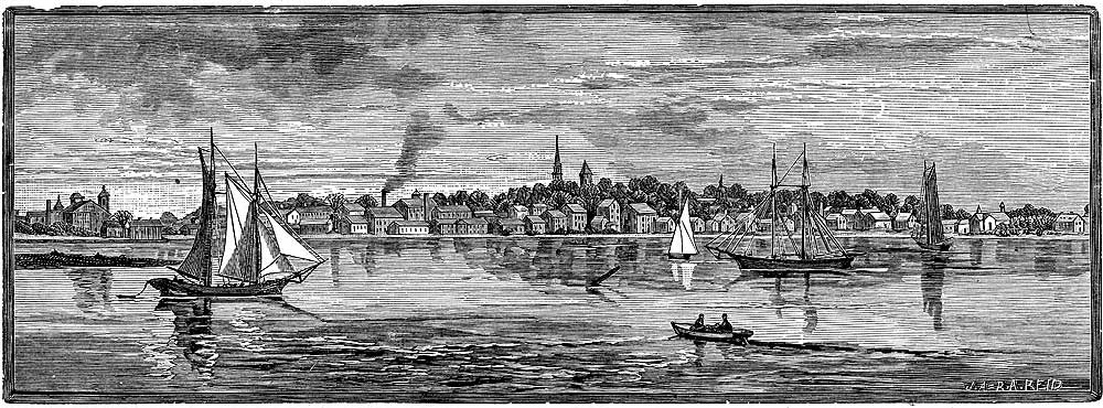 Warren, from the Beacon. Engraving from The Providence Plantations for 250 Years (1886).