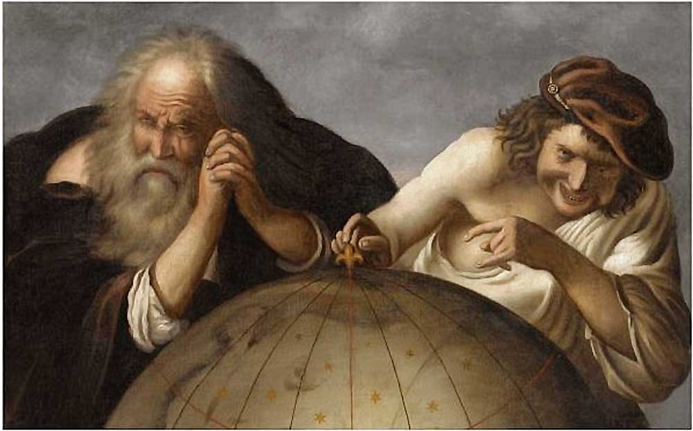 Democritus and Heraclitus, by Johannes Moreelse (Dutch, ca. 1603–October 1634). Oil on canvas. Democritus and Heraclitus, the laughing philosopher and the weeping philosopher, were a popular subject for early modern painters, including Rembrandt, Rubens, Velasquez, and many others. The philosophers are usually shown, as here, viewing a globe.