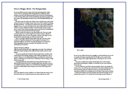 sample pages typeset in word